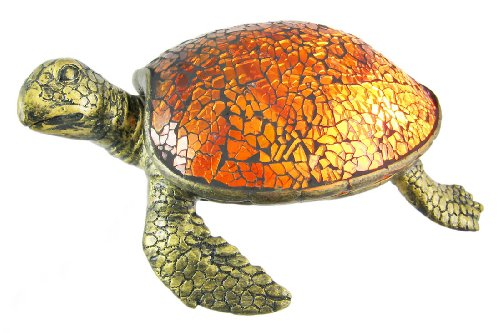 Cute Mosaic Amber Glass Sea Turtle Accent Lamp | Best Outdoor Lighting ...