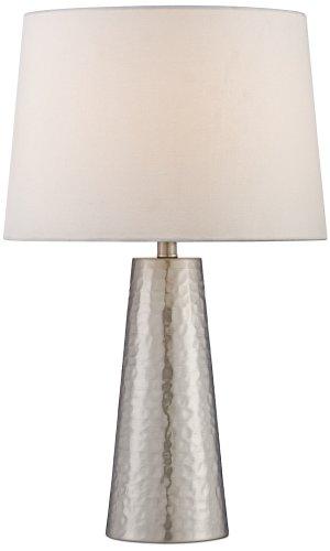silver leaf hammered metal cylinder table lamp best outdoor lighting. Black Bedroom Furniture Sets. Home Design Ideas
