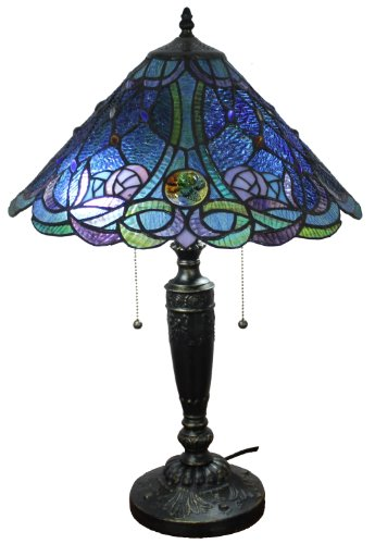 Amora Lighting Am1102tl16 Blue Tiffany Style Table Lamp 24